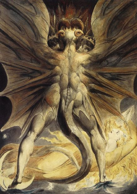 Blake, William: The Red Dragon and the Woman Clothed with the Sun. Fine Art Print.  (001396)